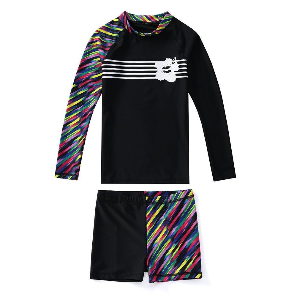 KID1234 Swimsuits for Girls - Long Sleeve Girls Swimsuits, Two Piece Swimsuits for Girls 5-12 Years