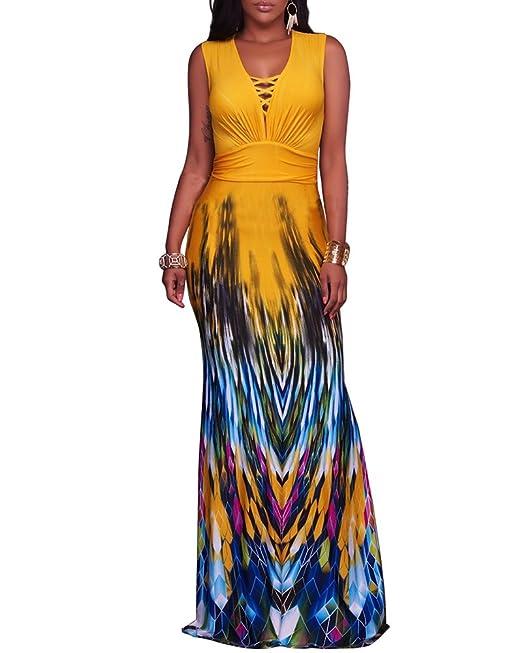 Mujer Verano Largo Noche Sin Mangas Estampado Vestido de Coctail Maxi Vestido de Fiesta Amarillo L