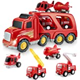 Fire Truck Car Toys Set, Friction Powered Car Carrier Trailer with Sound and Light, Play Vehicle Set for Kids Toddlers…