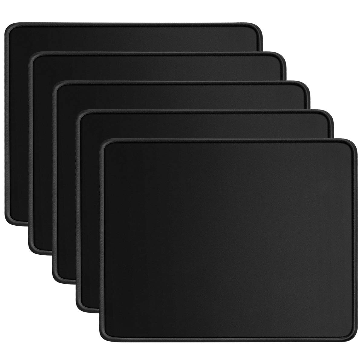 HONESTY Standard Size Mouse Pad with Stitched Edges 10.2×8.3×0.8 inches Black Premium-Textured Mouse Mat Pad Non-Slip Rubber Base Mouse Pad (5 pack)