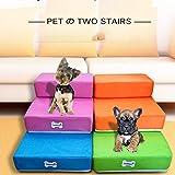 Escaleras para mascotas, escaleras de cama extraíbles para mascotas, escaleras ortopédicas de moda para perros y gatos, escaleras cómodas para mascotas y niñas, protegen las articulaciones y la rodilla de las mascotas para mascotas pequeñas, medianas y grandes, Coffee, S, 1