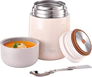 Food Thermos - 20oz Vacuum Insulated Soup Container, Stainless Steel Lunch box for Kids Adult, Leak Proof Food Jar with Folding Spoon for Hot or Cold Food (White)