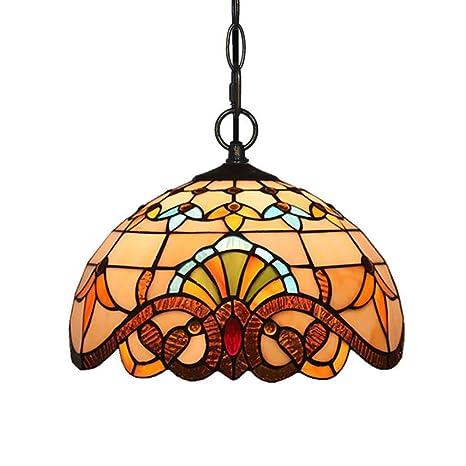 Tiffany Colgante de luz Retro Vitral Vaso Metal Lámpara ...