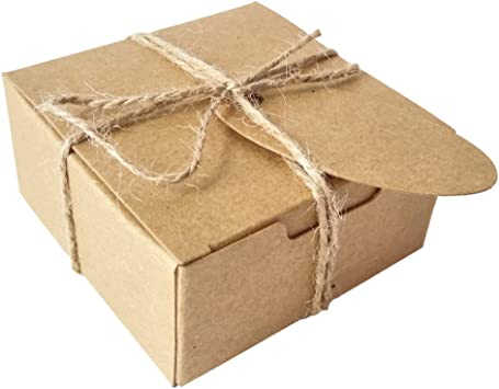 50 Piezas Cuadrado Regalos Envase Kraft Caja de Papel Y Etiqueta Cuerda de cáñamo Caja de jabón (Caja Marrón Con Etiquetas Marron): Amazon.es: Juguetes y juegos