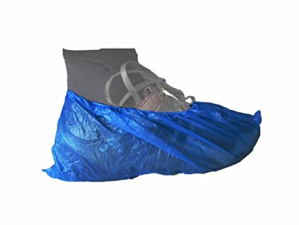"""50 pairs of Blue Polythene Disposable Overshoes 16/"""" 41cm"""