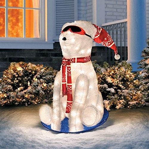Sledding Polar Bear Lighted Outdoor Christmas Decoration - 26'' H