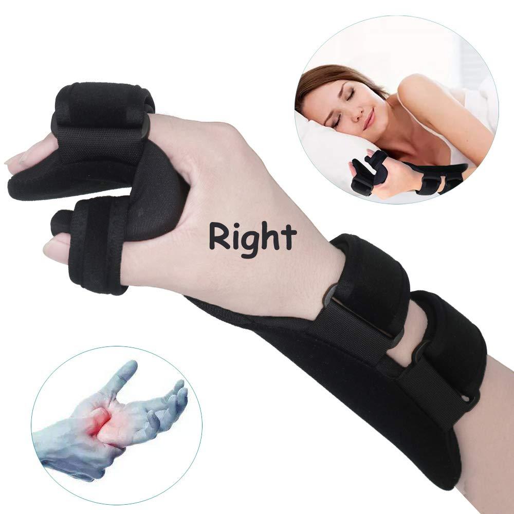 Soft Resting Hand Splint Night Wrist Splint Support Immobilizer Finger Wrist Fracture Fixation Scaffold for Stroke Hand Pain Tendinitis Sprain Fracture Arthritis Dislocation (Medium, Right) by Furlove