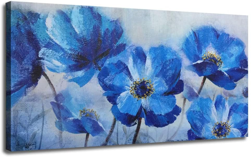 """Ardemy Canvas Wall Art Blue Flowers Bloosm Painting Prints Modern One Panel Poppy Florals 40""""x20"""" Large Size, Still Life Picture Framed Ready to Hang for Living Room Bedroom Home Office Kitchen Decor"""