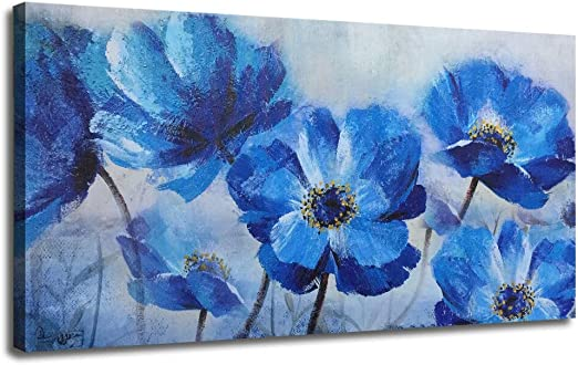 Art print POSTER CANVAS Blue Poppy Flowers
