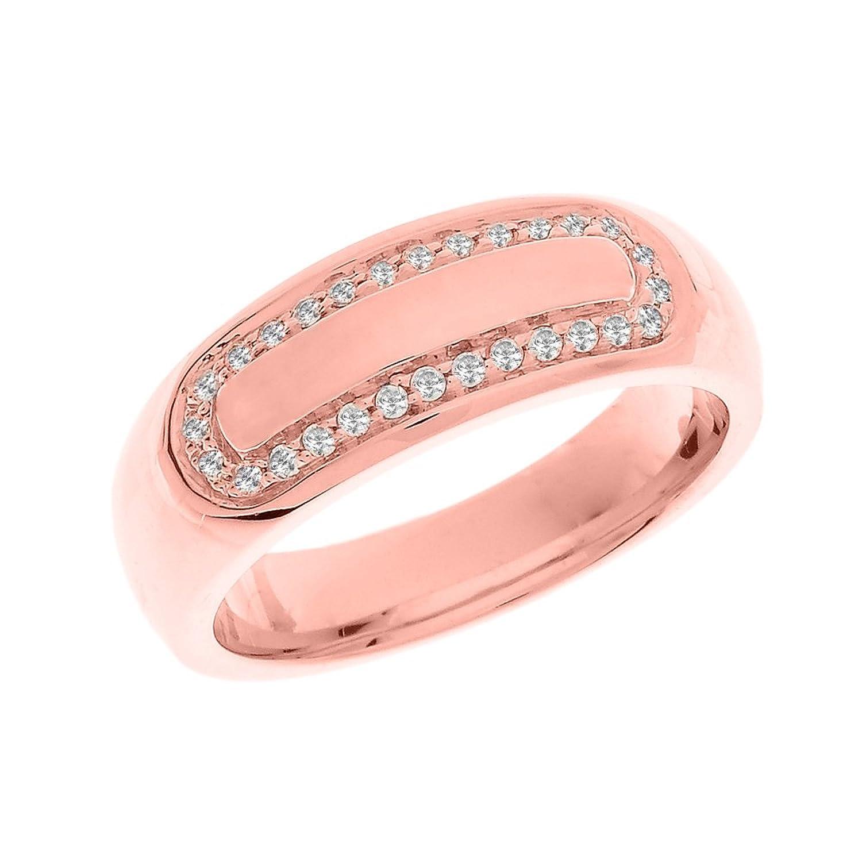 Amazon.com: Men\'s 10k Rose Gold Cubic Zirconia Comfort Fit Wedding ...