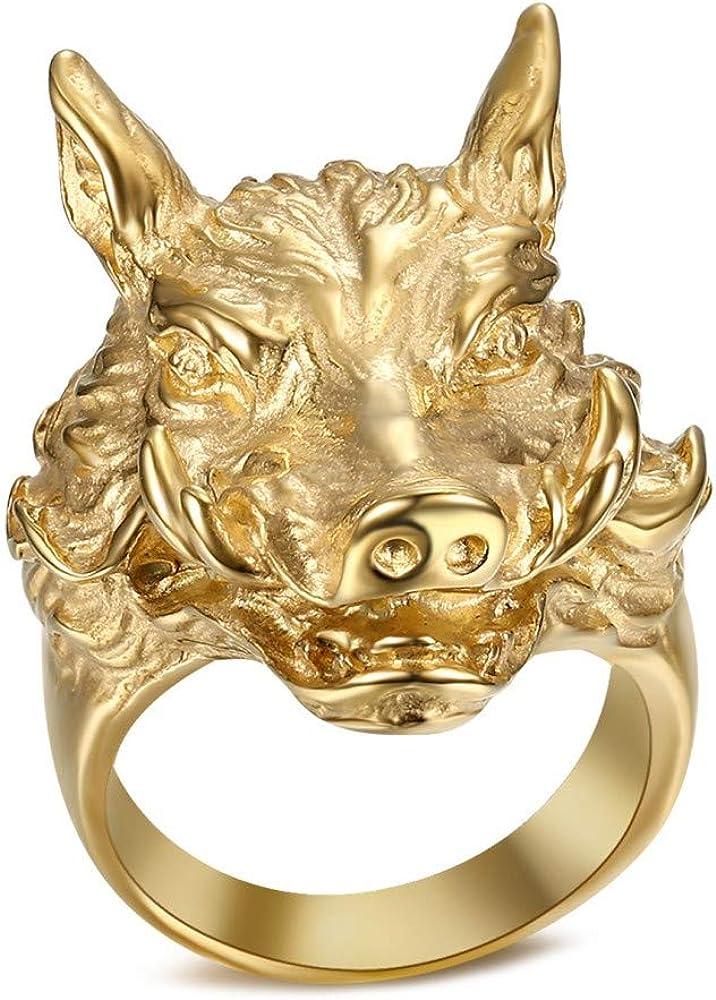 BOBIJOO Jewelry Grosse Bague Chevali/ère Sanglier Phacoch/ère Chasseur Nature Acier Or Dor/é Plaqu/é