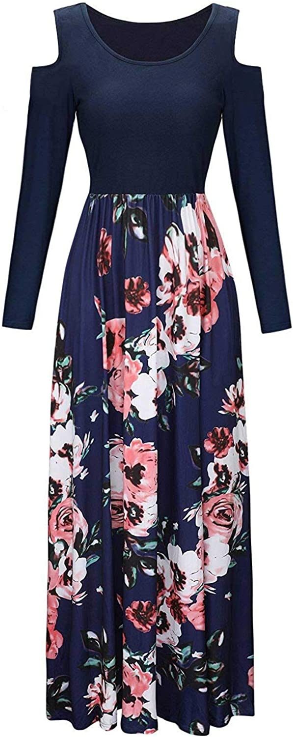 Kancystore Womens Short Sleeve Floral Maxi Dresses Cold Shoulder Dress with Pockets