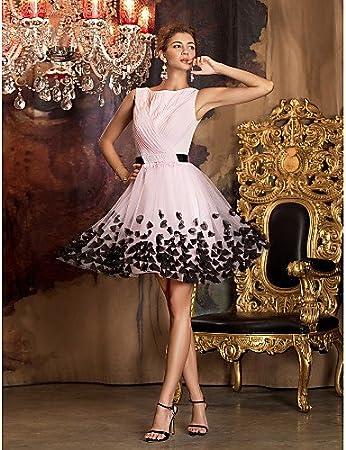 HY&OB Jewel Neck Short / Mini Chiffon Tulle Prom Dress With Flower ,Blushing Pink,