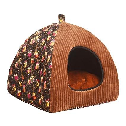 JEELINBORE Estampado Casa para Mascota Plegable Suave Cama para Perro o Gato (L: 40