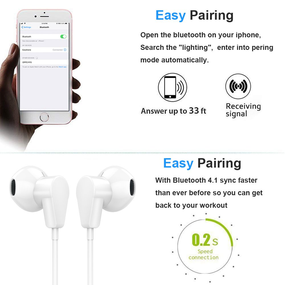 Earbuds Compaitible for iPhone 7 Plus, HKHONGDATECH Microphone Earphones Stereo Headphones and Noise Isolating Headset Applicable iPhone 7/7 Plus / 8/8 Plus