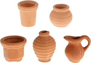 5Pcs Clay Flower Pots Set, 1:12 Scale Dollhouse Miniature Furniture Plants Vases Garden Ornament