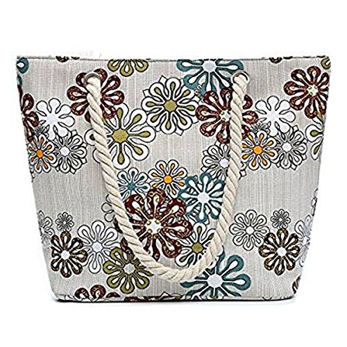 And Women Bag Tote Grey Travel Shopping For Beach Holiday Canvas Shoulder Flada Girls 4zvtff