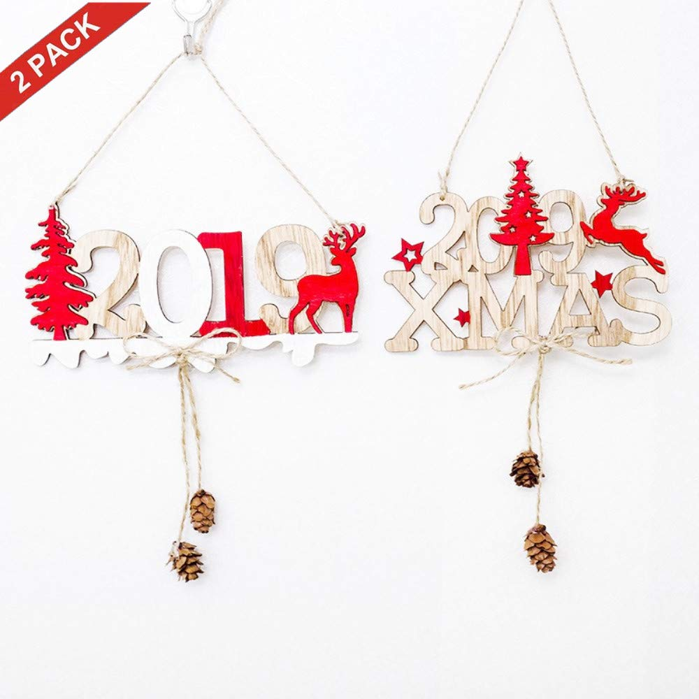 ERT Christmas Tree Decorations, Wood Slice DIY Hanging Ornament for Holiday Xmas Tree Deacorations,The Door Decor(2Pcs 2019Xmas)