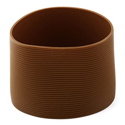 uxcell/® Silicone Household Reusable Heat Resistant Nonslip Glass Bottle Mug Cup Sleeve 6cm Dia Coffee Color