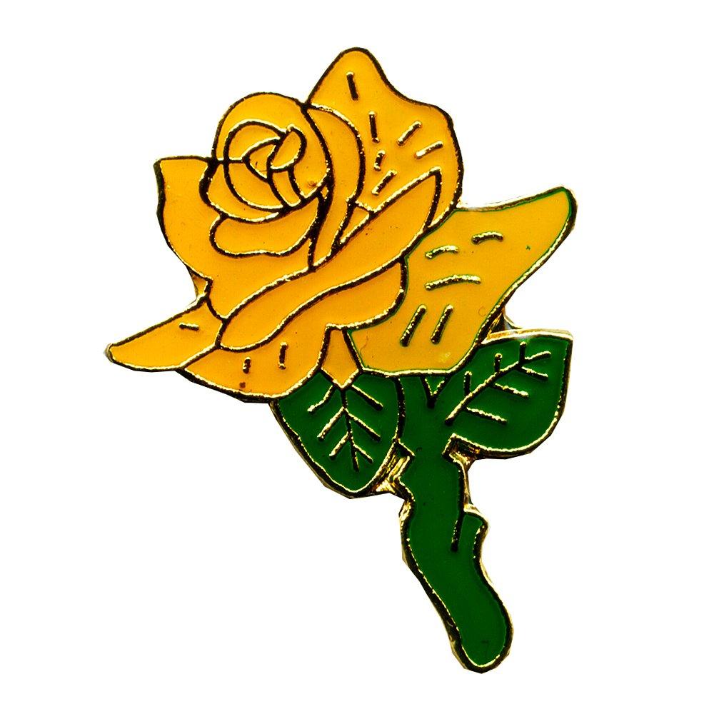 Gelbe Rose Freundschaft Platonische Liebe Blume Badge Button Pin Anstecker 0668 Import / Hegerring