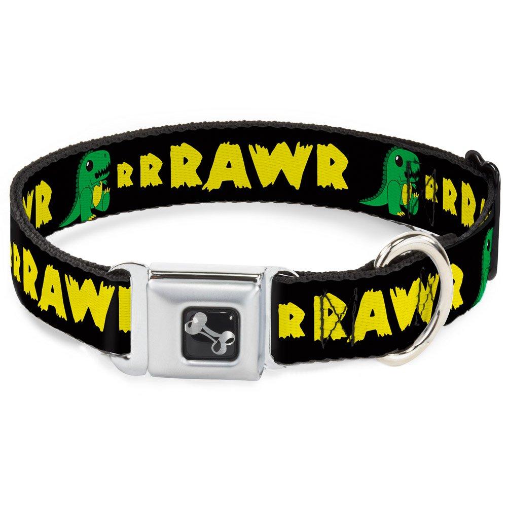 Buckle-Down Seatbelt Buckle Dog Collar RRRAWR Dinosaur Black Green Yellow 1  Wide Fits 9-15  Neck Small