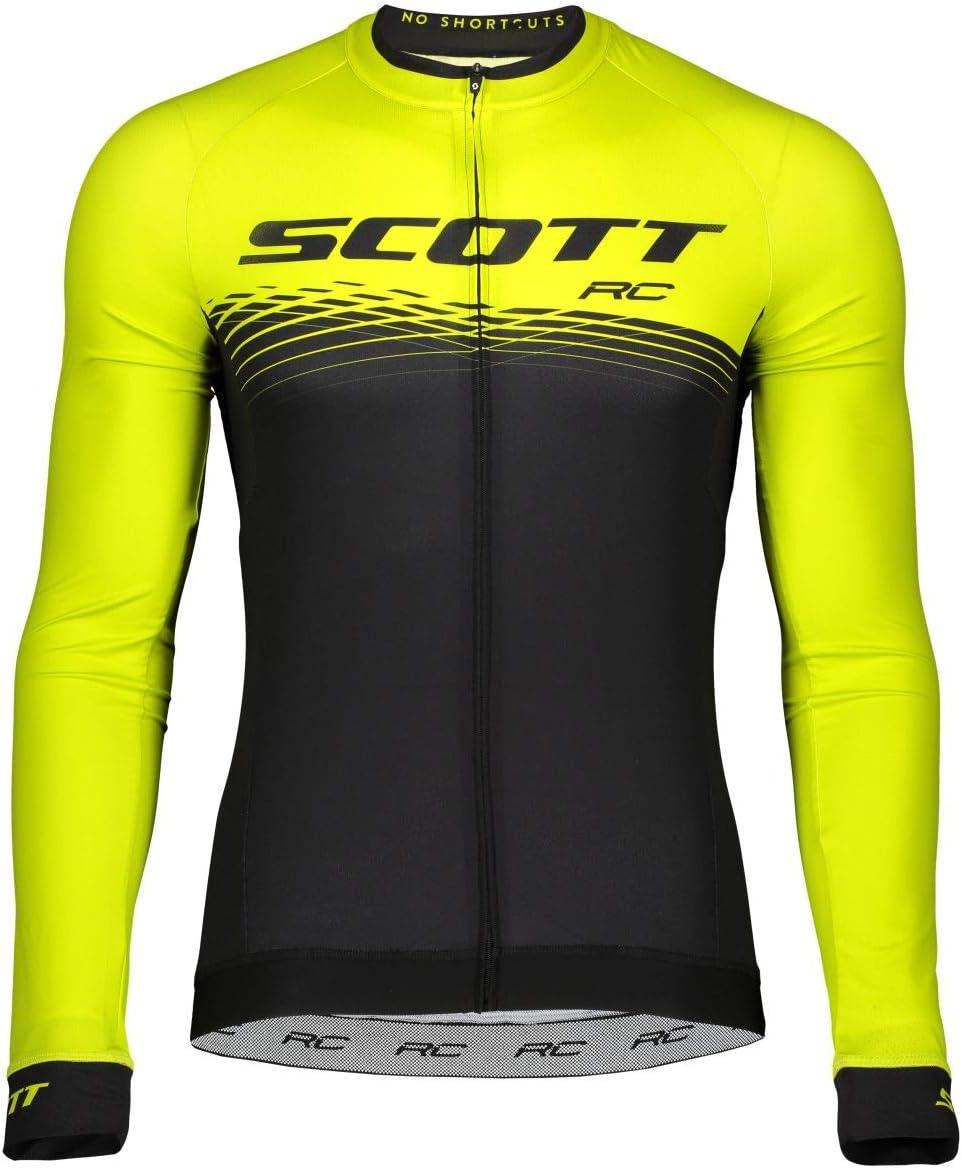 Color Negro y Amarillo Camiseta de Ciclismo Larga Scott RC Pro 2019