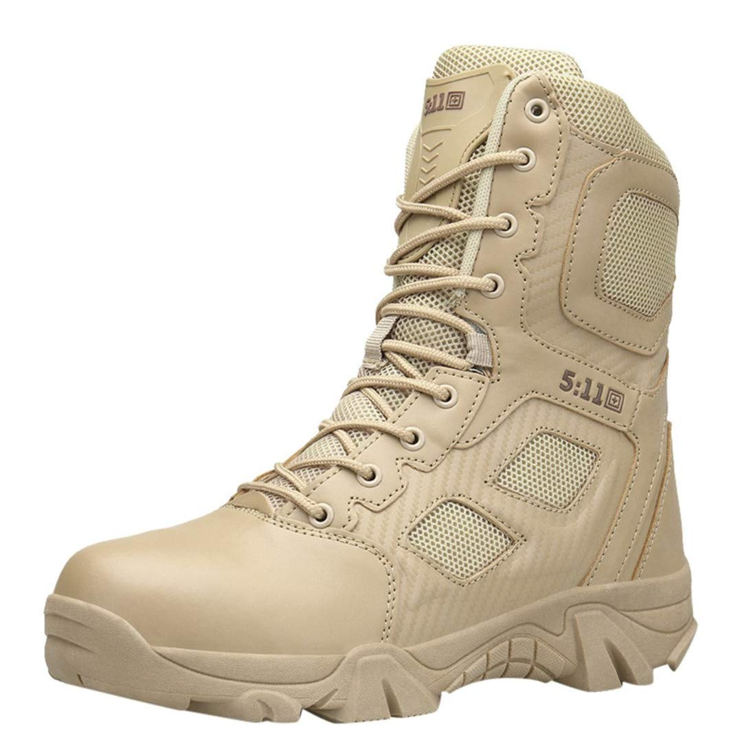 Men's Outdoor Non-Slip Wear-Resistant Combat Mountaineering Hiking Boots Shoes Khaki 42 by CNSDLK
