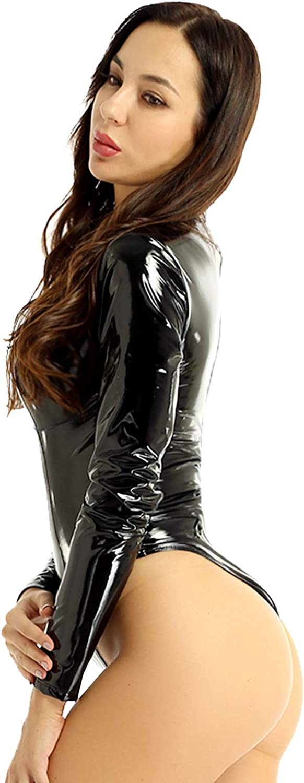 Oyolan Womans Patent Leather High Neck Long Sleeve Zipper Crotch Wet Look Thong Bodysuit Leotard