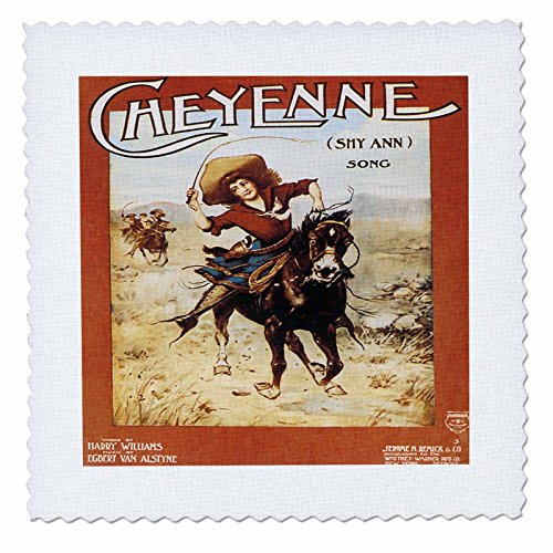 3dRose Cheyenne Song Woman Riding A Galloping Horse - Quilt Square, 10 by 10-Inch (qs_169966_1) ()