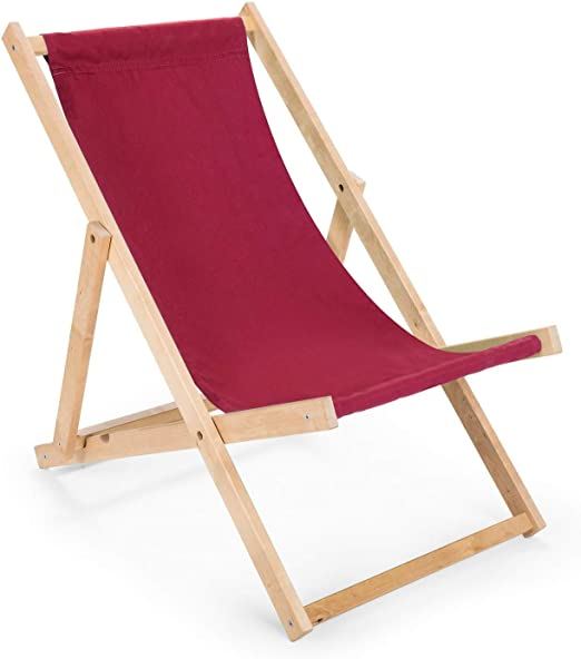 BAS 2 x 2 x Longue chaise pliante en bois bordeaux