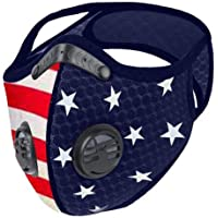 Face Bandanas with Breathing Valve, American Flag Print Face Covering, Outdoor Sports Mouth Mas Protection (1pc, Black A) (Free Size, 1pc Blue)