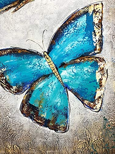 Boiee Art,24x36inch Hand Painted Adorable Butterfly Insect Oil Paintings on Canvas Modern Abstract Teal Blue Gold Art Contemporary Artwork Home Deco Wall Art Wood Inside Framed Ready to Hang