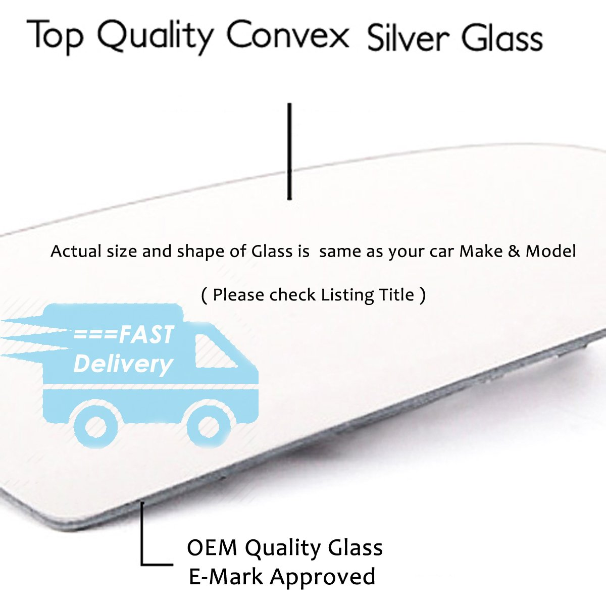 2003 -- 2012 For Car Year UK Passenger Side Convex S-9-3 Wing Mirror Glass