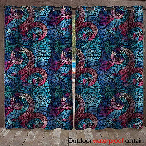 Foil Swirl Deep (Ombre Patio Gazebo Pergola Cabana Mosaic Shaped Shell Like Swirls Ocean Deep Sea Inspired Art ImageW108 x L108 Light Blue and Lilac Pink)