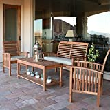 Walker Edison Solid Acacia Wood 4 Piece Patio Chat Set