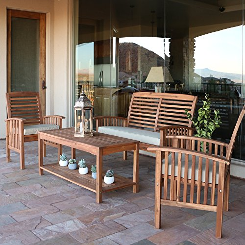 Walker Edison Solid Acacia Wood 4-Piece Patio Chat Set (Store Furniture Teak)