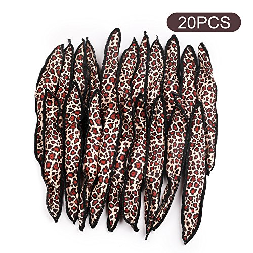 Black egg hair curlers 20pcs night sleep foam hair rollers leopard print DIY hair tools no heat and safe for (Night Leopard)