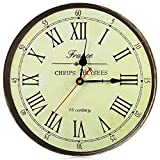 OneHomeStore Silent Retro Roman Numerals Wooden Decorative Round Wall Clock