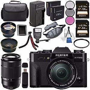 Fujifilm X-T20 Mirrorless Digital Camera with 16-50mm Lens (Black) 16543016 + Fujifilm XC 50-230mm f/4.5-6.7 OIS II Lens (Black) 16460771 + NP-W126 Battery + Charger + Case + Tripod + Flash Bundle
