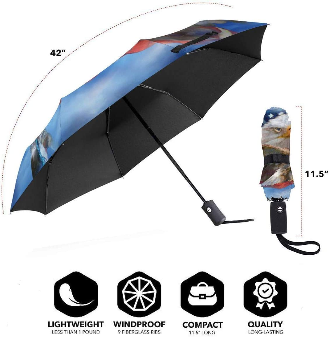 Bald Eagle With American Flags Sun Umbrella Parasol UV Protection Auto Open Folding With Sun Protection For Women