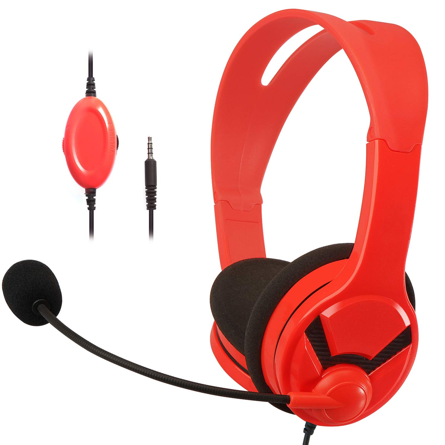 AmazonBasics Gaming Headset For Nintendo Switch, Xbox One, PlayStation 4 and PC - Red