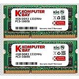 Komputerbay with Samsung semiconductors 8GB Dual Channel Kit 2x 4GB 204pin DDR3-1333 SO-DIMM 1333 PC3-10600 (1333MHz, CL9)