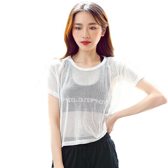 ZEVONDA Suelto Verano Atractivo Transparente Mujer Crop Camisas Tops Sudadera Camisetas Manga Corta Remata Corto Blusa: Amazon.es: Ropa y accesorios