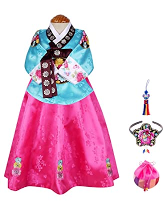 Skyroad Korean Traditional Hanbok Set for Baby through Girl (Made in Korea)  (6 Items Total) (Dol Bok from age 1 to 15)