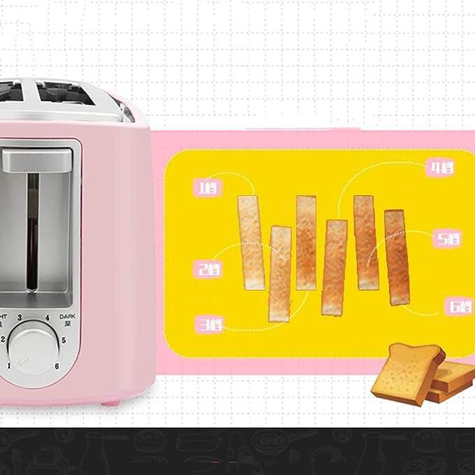 ... Completamente automático Casa Desayuno máquina, Bandeja desplegable, Ranura Ancha, Descongelación, 2 rebanadas Tostadoras, Tapa y Clip de Pan-Rosa: ...