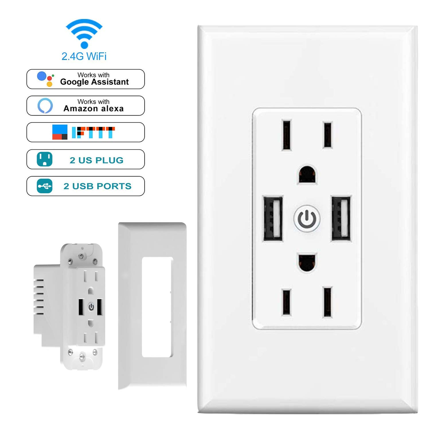 Smart Plug USB WiFi Outlet in-Wall with 2 Individual Control Sockets & 2 USB Ports, Works with Amazon Alexa and Google Assistant, support Timing Function, Voice and APP Remote Control, No Hub Required