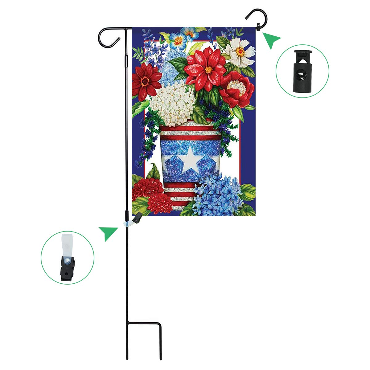 Sunton Patriotic Flowers Double-Sided Garden Flag, Garden Flag Pole with Flags Stand Rubber Stopper and Anti-Wind Clip for Home Outdoor Decoration 12.5x18 inch