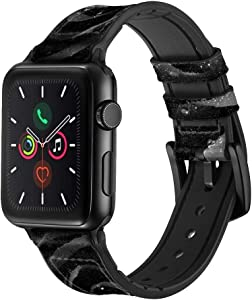 CA0182 Black Rose Leather & Silicone Smart Watch Band Strap for Apple Watch iWatch Size 42mm/44mm