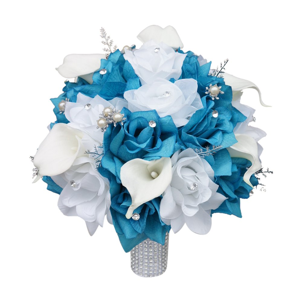 Amazon.com: Large Bridal Bouquet - Malibu Turquoise White Silver ...