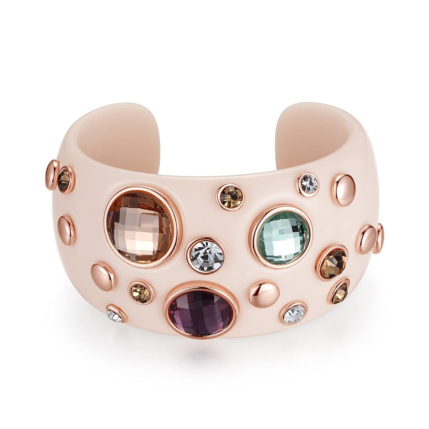 Kemstone Multicolor Cubic Zirconia Rose Gold in White Cuff Bracelet, Pretty Jewelry for Fashion Women